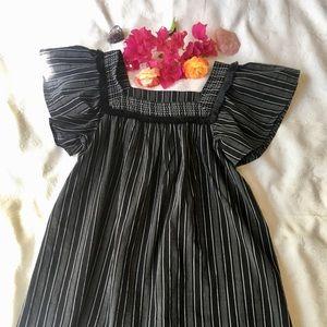 Boho Black & White Stripe Babydoll Blouse